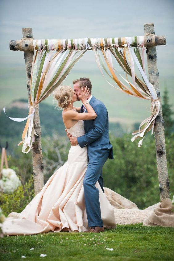 rustic-country-ribbon-wedding-arch